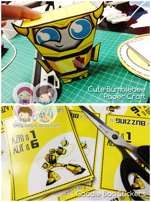 bumblebee paper craft and goodie sticker