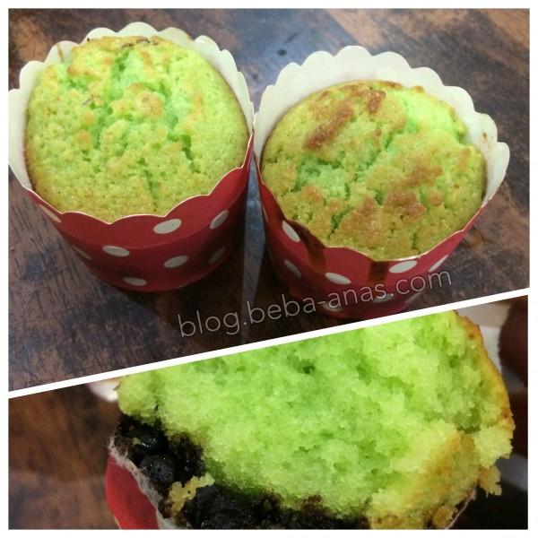 muffin pandan coklat - resepi